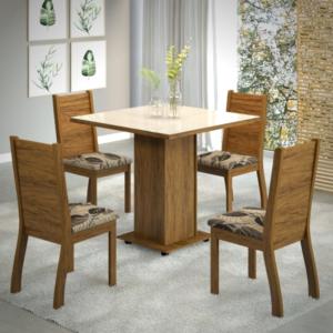 Conjunto Sala de Jantar Quadrado c/ 4 Cadeiras